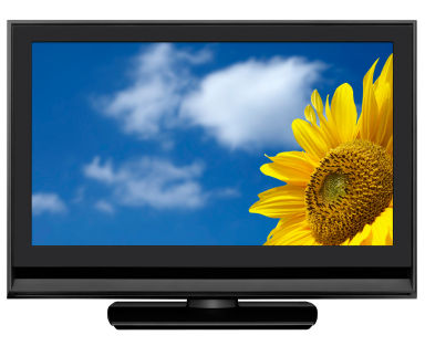 Wide 16:9 LCD television set (with screen and clipping path)